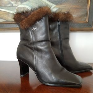 Leather Mink Boots, 7.5